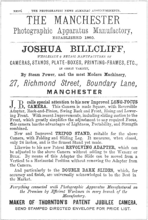 Billcliff advertisement from 1887