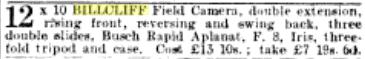 Billcliff ad for field camera