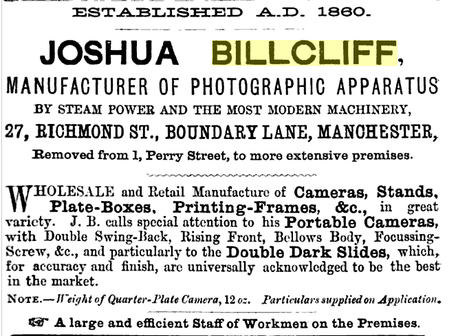 Billcliff ad from 1883